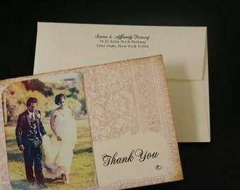 Wedding Thank You Cards, Vintage, Shabby Chic, Photo Thank You Card, Personalized Message Inside, Hand-Stamped, Unique, Note Cards
