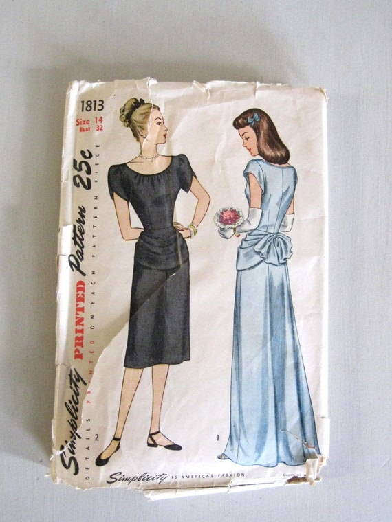 1940s Evening Dress Pattern, Bust 32, Simplicity 1813, Bridesmaid Dress, Draped, Bustle, Petal Sleeves, Scoop Neck