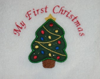 My First Christmas Baby Blanket Personalized Free Christmas Tree