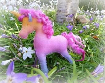 Waldorf Steiner inspired Wool Felt toy Unicorn (1)-Natural fibre Unicorn-Waldorf Unicorn doll-custom made by Debs Steiner Dolls