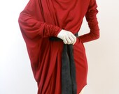 Maria Severyna Deep Red Wool Jersey draping sweater dress with long sleeves - available in many colors