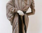 Maria Severyna Zig Zag Missoni Pattern Jersey Draping Dress with Long Sleeve