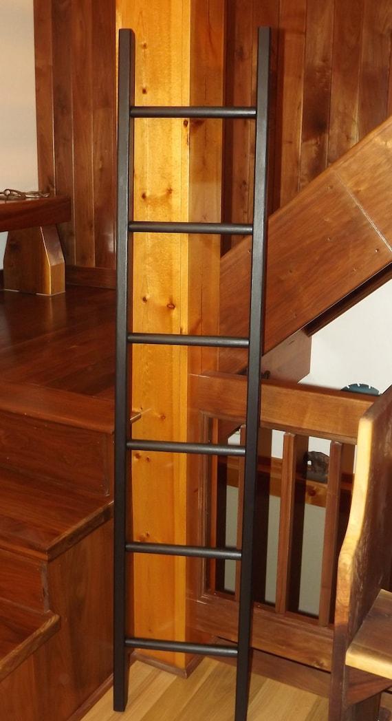 Ladder reclaimed wood pot rack solid black pine for Reclaimed wood pot rack
