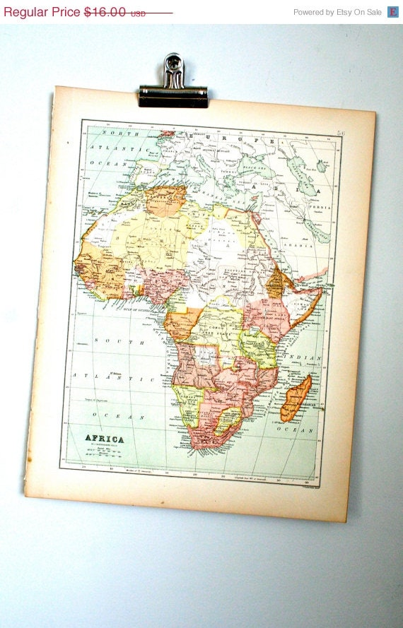 antique map from 1890 atlas: africa