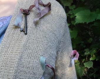 SALE,WAS 67.00,Cornmeal Colored,Slinky Knit Cardigan,Bohemian Sweater,Shabby Chic Sweater,Vintage Skeleton Key    OOAK