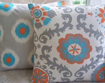 Gray Orange Aqua Decorative Throw Pillow Cushion COVERS Two 18 Inch Childrens Pillow Sofa Pillow Bed Decor Nursery Pillow Accent Pillow Sham