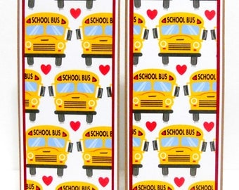 CLEARANCE- Paper Bookmarks: School Bus Set of 2- approx. 2 1/2 x 7 inches