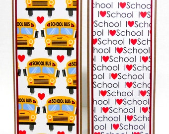 CLEARANCE- School: Paper Bookmarks Set of 2- approx. 2 1/2 x 7 inches