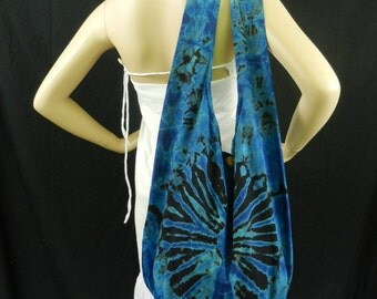Blue Tie Dye Bag Purse Hobo Hippie Sling Messenger Crossbody XL Top Zip OAK VJ2