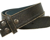 "Snap Belt Black Distressed Leather Belt Strap 1 1/2"" Wide"