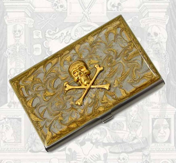 Skull and Crossbones Business Card Case Inlaid in Hand Painted Enamel Steampunk Metal Card Case Gold Swirl Design with Personalized Options