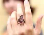 Forged Copper Ginkgo Leaf Ring