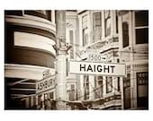 San Francisco photo. Haight Ashbury Street Sign photo.  Victorian houses. San Francisco photography.  Vintage Photo. 1960s style