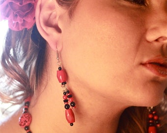 FIERCE FLORAL Handcrafted Black and Red Chandelier Earrings