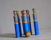 Lovely Vintage Bowling Pins Set Of 6 Sailors