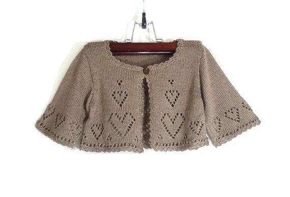 Knitted Toddler Girl Bolero Jacket - Light Brown, 2 - 2.5 years, Spring Summer Girl Short Jacket, 3/4 Sleeves Jacket Handmade Girls Clothing