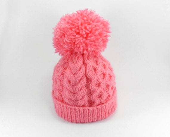 Hand Knitted Baby Hat with Pom Pom - Pink, 1 - 2 years