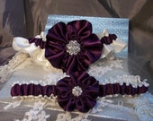 Wedding Garter set in Eggplant and Ivory with Rhinestone Center, Bridal Garter Set Purple, Plum