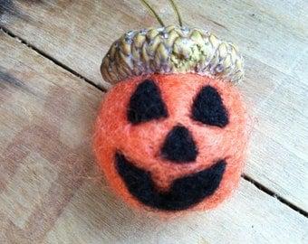Orange Wool Large Acorn with Jack O Lantern Face Needle Felted Halloween Pumpkin