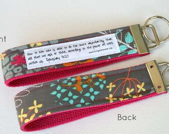 Petals and Leaves on Pink Key Fob:  You choose verse or Quote