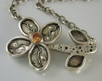 Silver Flower Necklace, Handmade Silver Necklace, Citrine Flower Necklace, November Birthstone Necklace, Unique Handmade Jewelry, Artisan