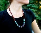 Organic Beaded Gemstone Necklace: Lampwork, Rosewood, Phosphosiderite, Carnelian, Smoky Quartz, Sandalwood, Bone - Ambrosial Gardens