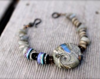Organic Beaded Artisan Bracelet: Lampwork, Labradorite, Smoky Quartz - Enchantments in Iron