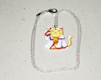 Maneki Neko ( Lucky Cat ) White Mage ( Final Fantasy )  Necklace