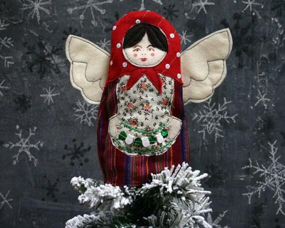 Kitschy Matryoshka Nesting Doll Angel Christmas Tree Topper