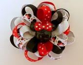 Minnie Mouse Loopy Ribbon Flower Hair Bow Set of 4