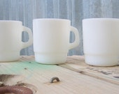 Milk Glass Mugs, set of 3, Galaxy Milk Glass