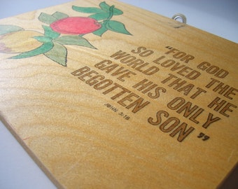 John 3:16 Vintage Wooden Sign, For God So Loved The World That He Gave His Only Begotten Son