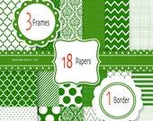 Green digital paper, green scrapbook paper, digital paper and clipart, digital frame and border clip art in emerald green - 405