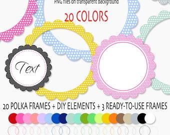 Digital clipart Frames or labels, Polka Dots frames, Digital clip art frames, 20 colors INSTANT DOWNLOAD Pack 400