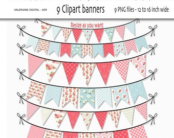 Shabby Chic Digital bunting clipart, clip art, floral clipart for invitations, scrapbooking - 9 PNG files - INSTANT DOWNLOAD Pack 409
