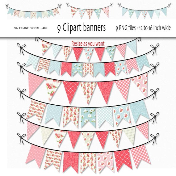 Shabby Chic Digital bunting clipart clip art floral clipart
