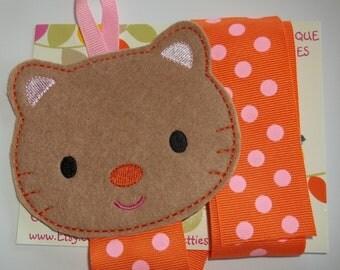 Tan Pink Orange KITTY CAT Bow Clip Clippie Holder Organizer Keeper Babies Toddlers Girls