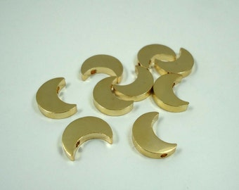 F-55. 4pcs, Gold Plated,Crescent Moon Beads