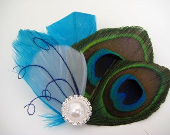 Wedding Bridal Bridesmaid Turquoise Royal Blue Peacock Feather Rhinestone Jewel Head Piece Hair Clip Fascinator READY TO SHIP