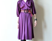 70s Boho Peasant Dress Eggplant Purple hippie shirtwaist, gathered drawstring tunic cut, disco dancing party frock, Fall wine color