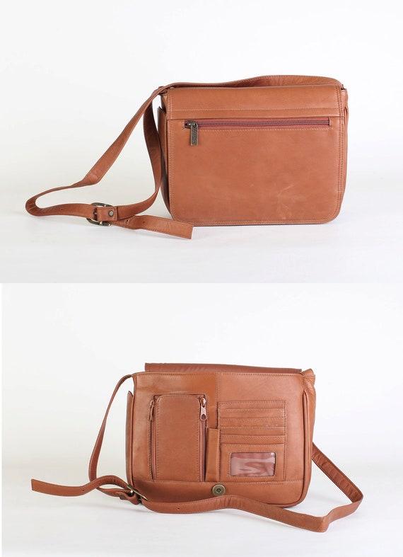 Brown Leather Cross Body Purse, Shoulder Handbag, Messenger Bag