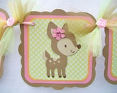Forest animals, woodland animals baby shower banner, its a girl