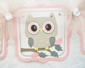 Owl baby shower banner, name banner, its a girl banner, pink, white and gray