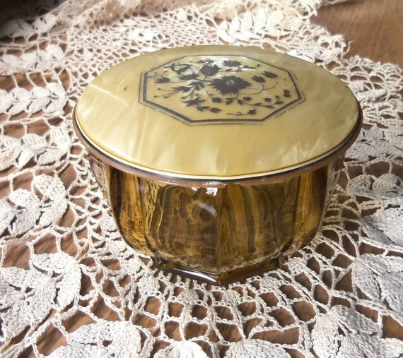RESERVED FOR fstarter50 Vanity Powder Jar with Celluloid Lid Art Deco Era Covered Glass Box