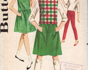 1960's Girls' Blouse, Overblouse, Skirt and Pants  Butterick 2823  Size 10