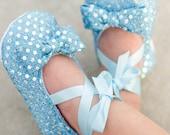 Light Blue Sequin Baby Shoes Baby Ballerina Slipper