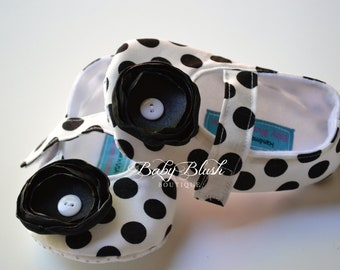 Black & White Dots Baby Shoes Baby Ballerina Slipper