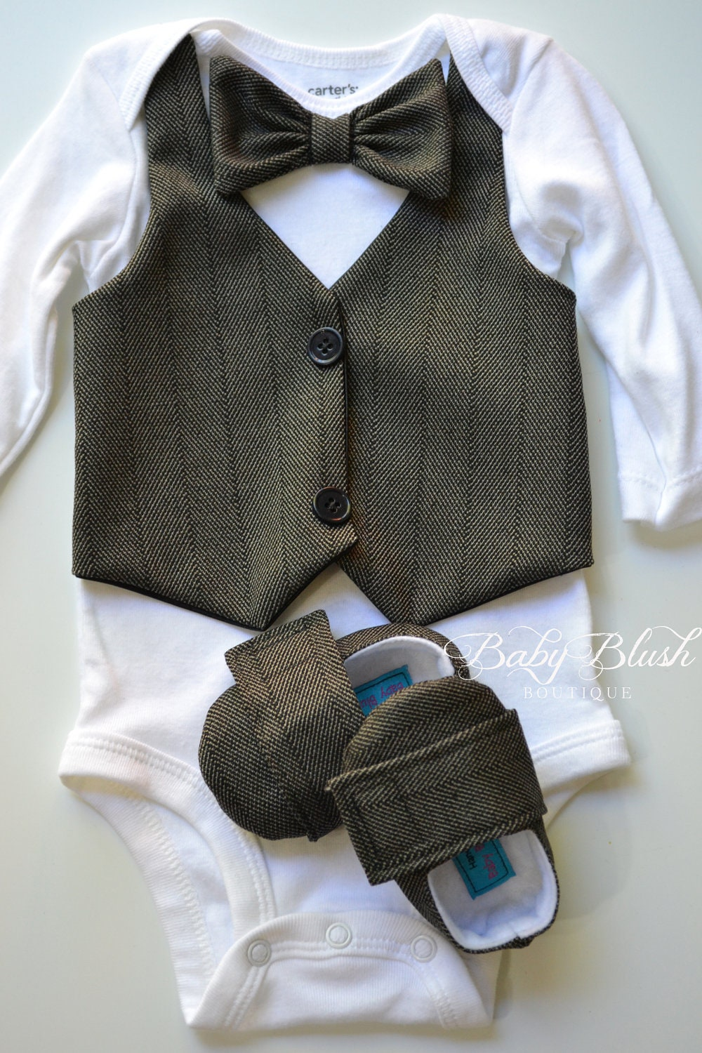 black vest bow tie baby boy photo prop matching shoes