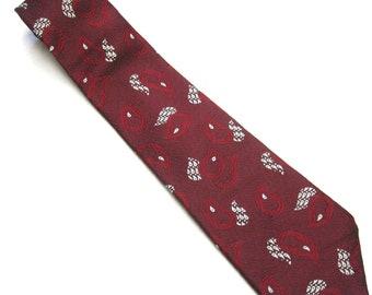 Burgundy Maroon Red White Necktie Tie
