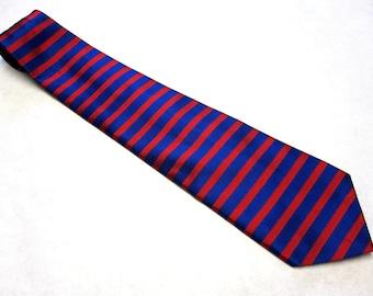 Red Blue Stripe Necktie Silk Robert Talbott Tie